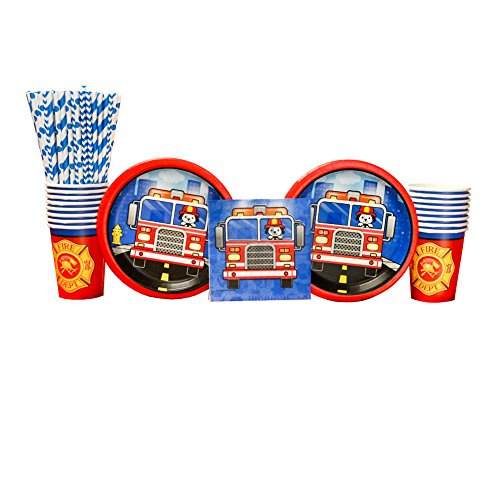 5-Alarm Flaming Fire Truck Party Supplies Pack for 16 Guests: Straws, Dessert Plates, Beverage Napkins, and Cups ()