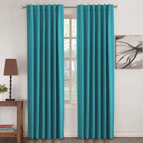 Turquoize Insulated Thermal Back Tab Rod Pocket Blackout Curtains 2 Panels Teal Solid For Living Room 52 W X 84 L