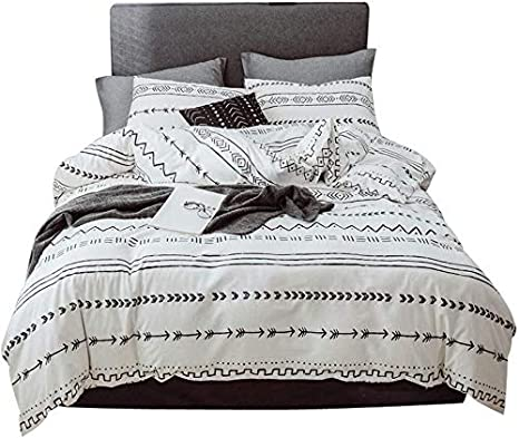 Geometric Bedding Set King Duvet Cover Sets White Black Bohemian Herringbone Stripe Bedding Comforter Cover Zipper Closure Corner Ties Quilt Cover Set 1 Duvet Cover 2 Pillowcases for Boy Girl