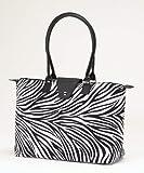 Fold-Up Tote Bag with Long Handle – Zebra Design