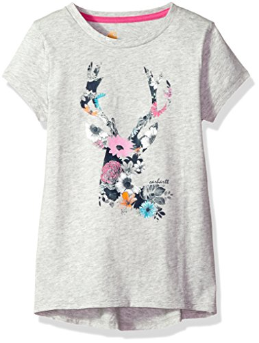 Carhartt Big Girls' Short Sleeve Tee, Grey, M-10