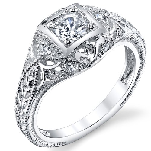 Carved Sterling Silver Vintage Cubic Zirconia CZ Bridal & Engagement Ring Size 7