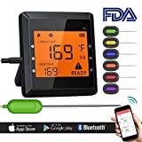 remote bbq thermometer iphone - Digital Bluetooth Meat Thermometer for iPhone - 6 Long Probes, Smart Instant Read, Phone App Wifi Remote, Battery Powered, Easy for Cooking Food, BBQ Grilling, Wireless Leave in Oven Safe and Smoker