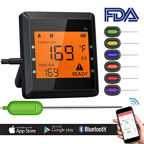 Digital Bluetooth Meat Thermometer for iPhone - 6 Long Probes, Smart Instant Read, Phone App Wifi Remote, Battery Powered, Easy for Cooking Food, BBQ Grilling, Wireless Leave in Oven Safe and Smoker