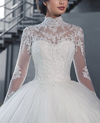Fanciest Women\'s Vintage High Neck Long Sleeve Wedding Dresses For ...