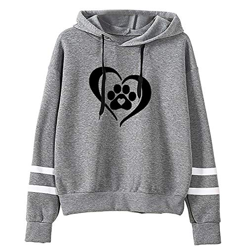 Sunhusing Womens Dog Claw Love Heart Print Hooded Sweater Drawstring Long Sleeve Pullover Top