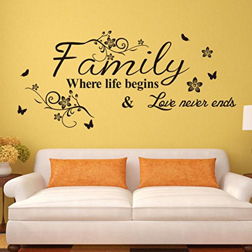 Ussore Wall Sticker English Proverbs Beautiful Flower Wall Stickers Flower Vine Sofa Background Art Wall Stickers Home Decor Wall Art For Kids Home Living Room House Bedroom Bathroom Kitchen Office ()