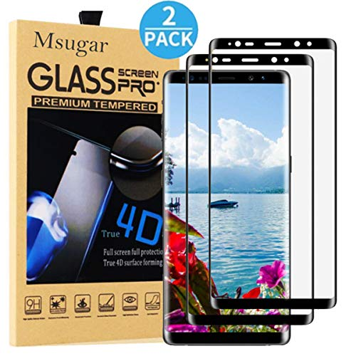 Galaxy Note 9 Screen Protector,Msugar 2-Pack Tempered Glass[HD Clear][Anti-Bubble][9H Hardness][Anti-Scratch] Screen Protector for Samsung Galaxy Note 9-Black