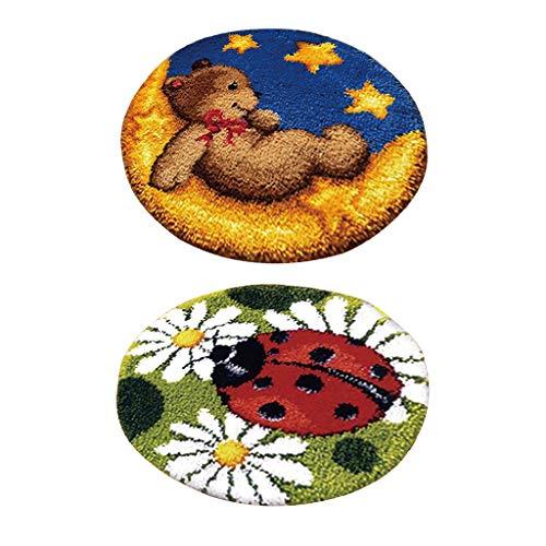 Baosity 2 Sets Latch Hook Rug Kit for Kids DIY Ladybug Bear Toy Cushion Embroidery ()