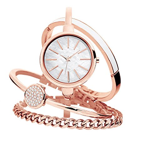 Women's AK/1470 Bangle Watch and Bracelet Set (White)