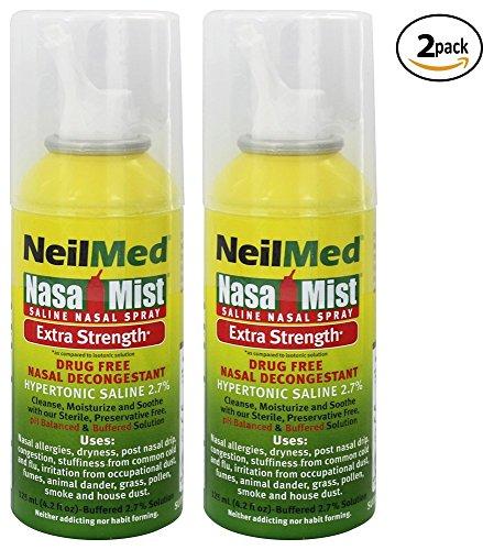 NeilMed Extra Strength NasaMist Saline Nasal Spray Drug Free Nasal Decongestant 4.2 fl oz, (Pack of 2) (Neilmed Nasamist Saline Spray)