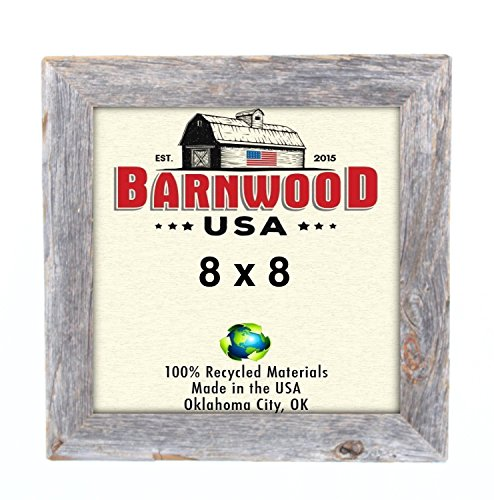 BarnwoodUSA Rustic 8 x 8 Inch Picture Frame 1 1/2 Inch Wide