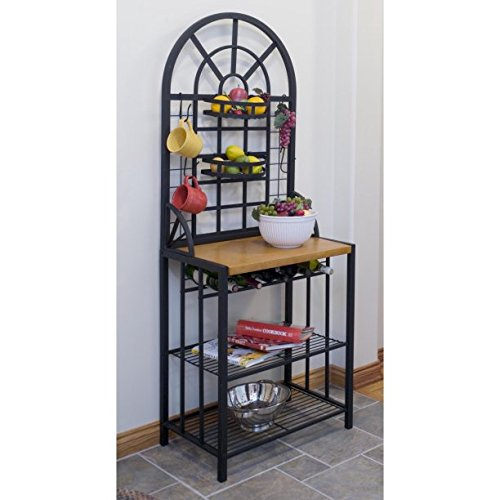 Beautiful Bakers Rack, Dimensions: 26W x 17D x 68H inches, Simple, Elegant Metal Frame, Central Wood Shelf, 2 Bottom Metal Shelves by GAShop
