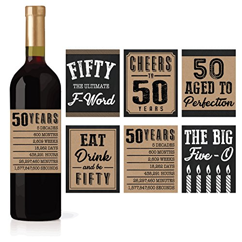 50s Decoration Ideas - 6 50th Birthday Wine or Beer