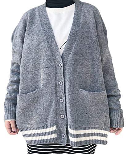 ZhongJue(ジュージェン) レディース ニット カーディガン 長袖 ゆったり コーディガン 無地 ニットセーター 前開き 秋冬 アウター BF風 原宿系 可愛い