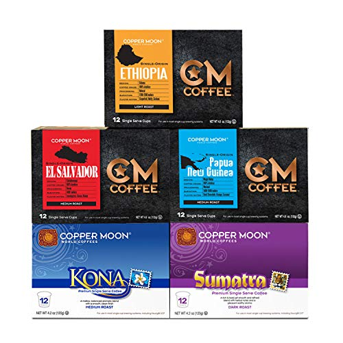 Copper Moon Coffee Variety Pack Worlds Best Cup of Coffee 60 count Single Cup with free Traveler Cup (12 ct: Kona, Sumatra, Ethiopian, El Salvador, Papua New Guinea)