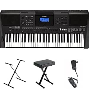 Yamaha PSRE453 61-Key Portable Keyboard with Stand, Bench, and Power Supply