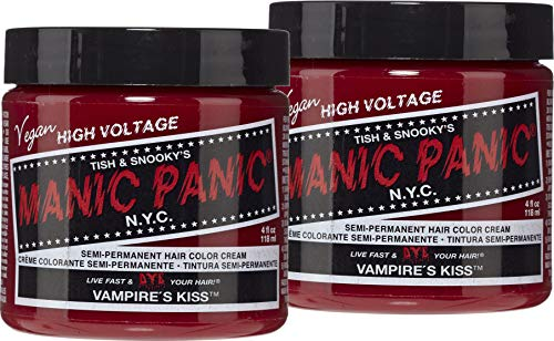 (Manic Panic Vampire's Kiss Red Color Cream (2-Pack) Classic High Voltage - Semi-Permanent Hair Dye - Vivid, Red Shade - For Dark, Light Hair - Vegan, PPD & Ammonia-Free - Ready-to-Use, No-Mix Coloring)