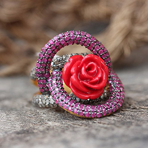 Natural 1.23 Ct. Pave Diamond Ruby Designer Coral Flower Engagement Ring Solid 925 Sterling Silver Wedding Fine Handmade Jewelry ()