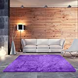 BlueSnail Super Ultra Soft Modern Shag Area Rugs, Bedroom Livingroom Sittingroom Floor Rug Carpet Blanket for Children Play Home Decorate (4' x 5.3', Rectangle, Purple)