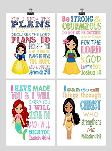 Princess Set of 4 - Christian Nursery Decor Wall Art Print - Snow White, Mulan, Ariel and Pocahontas - Bible Verse - Multiple Sizes
