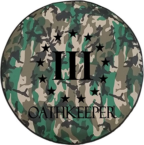 American Unlimited Woodland Camo Denim - Oathkeeper 3% Revolution US Flag Constitution Spare Tire Cover Black 31 ()