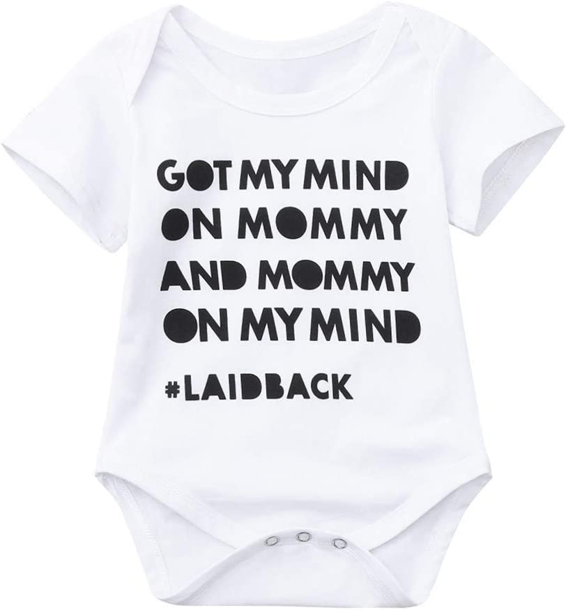 "Baby Boys Girls Romper HP95 Fahion Toddler Letters /""Got My Mind/"" Printed Short Sleeve Bodysuit Infant Newborn Jumpsuit Outfit"