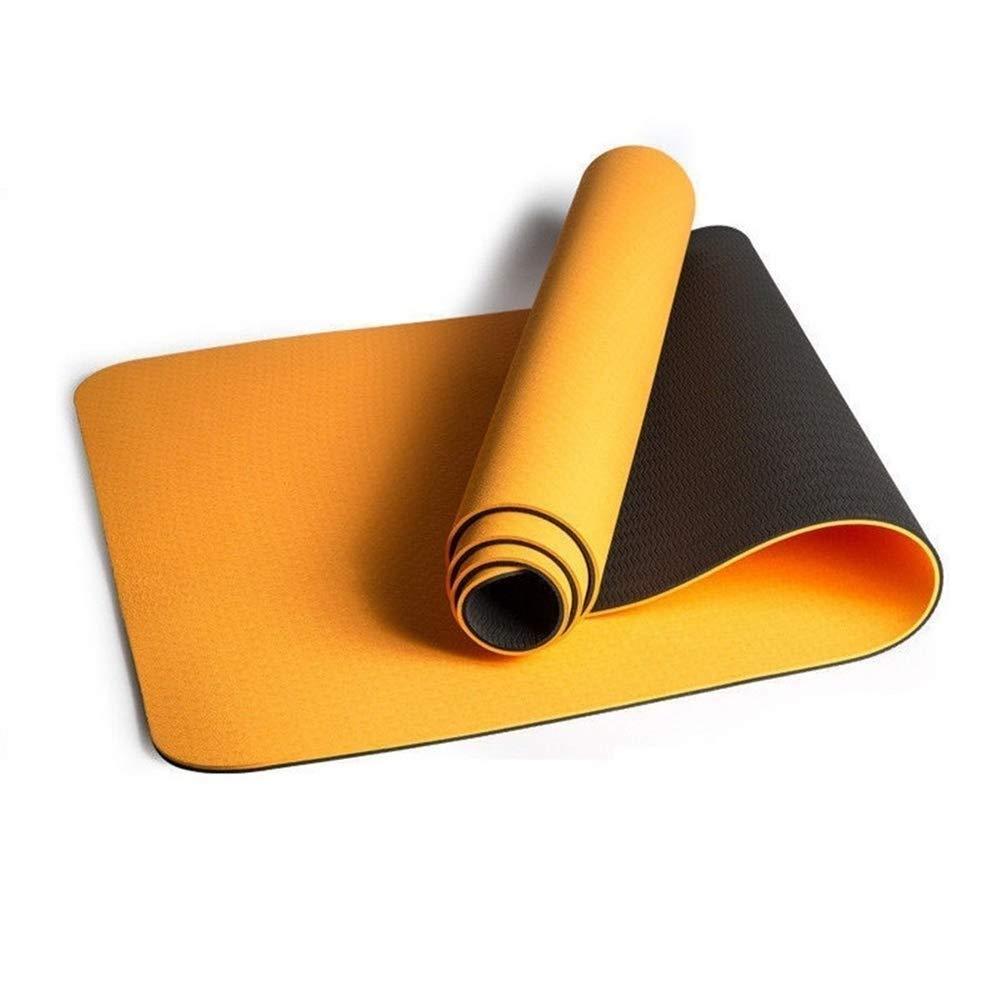 ヨガマット6ミリメートルソフトノンスリップスポーツマットフィットネスピラティスマットtpeヨガマットエクササイズフィットネス体操トレーニングパッドマルチカラーオプション (色 : オレンジ) B07R1VWPCZ  オレンジ