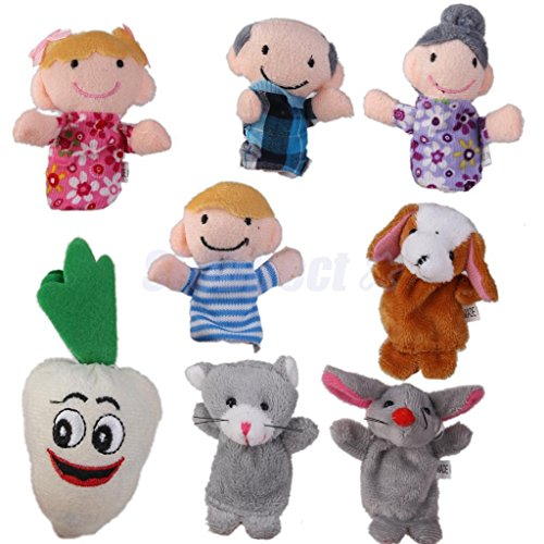 8pcs Family Hand Finger Puppets Cloth Doll Baby Bed Story The Carrot