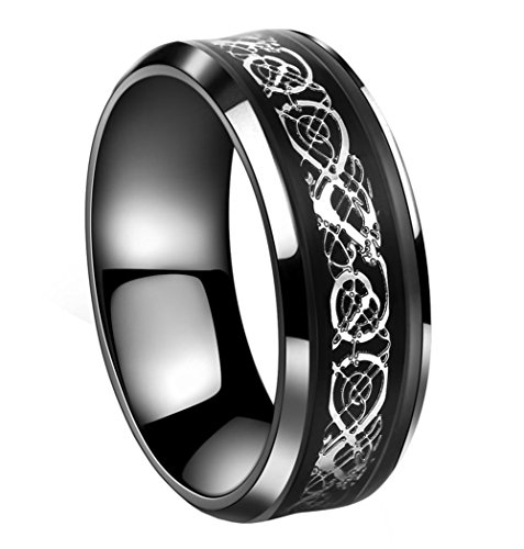Silver Dragon Mens Ring - Tanyoyo 8mm Black Stainless steel Ring Celtic Dragon Silver Wedding Band Size 7-14(9)