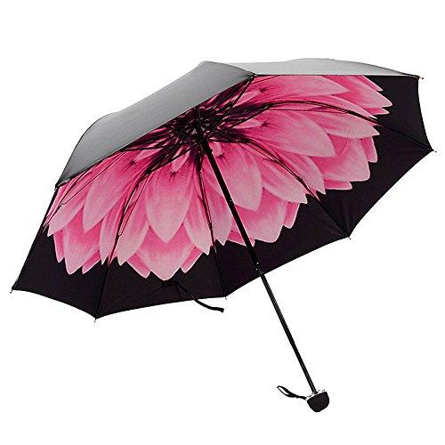 TOOGOO Umbrella Rain Woman Three-Folding 3D Flower Print Sunny Rainy Umbrella Parasol ()
