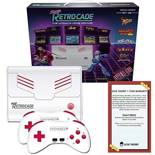 Retro Bit Super RetroCade Plug & Play Classic HD Game Console with HDMI Port – Preloaded with over 90 Popular Arcade and Console Titles like Mega Man 2, Joe & Mac (Red/White) – For NES, SNES