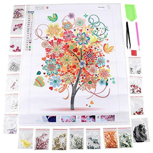 Colorful Tree Pattern Diamond Painting, Handmade Diamond Painting Four Season DIY Stereo Feeling Rhinestone Drawing Painting Home Decor