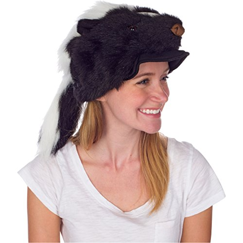 Rittle Skunk Animal Hat, Realistic Plush Costume Headwear (Skunk Costume Adult)