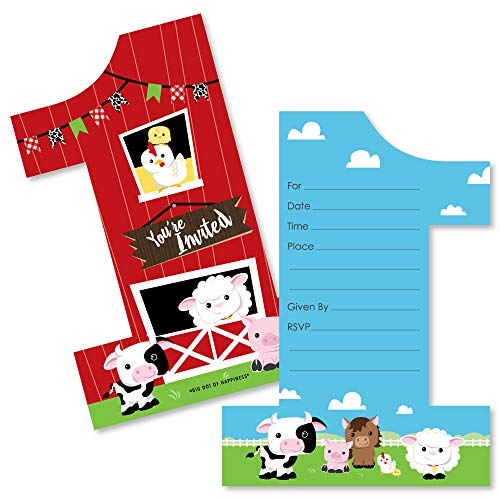 1st Birthday Farm Animals - Shaped Fill-in Invitations - Barnyard First Birthday Party Invitation Cards with Envelopes - Set of ()