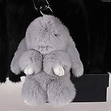 Rex rabbit Fur Leather Rabbit Fur Pendant for Womens Bag or Car Pendant(Light Gray)