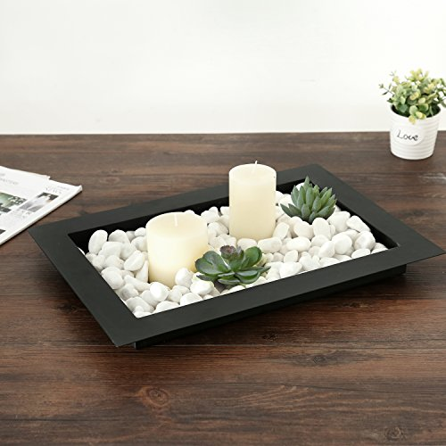 17-inch Decorative Metal Wide Rim Centerpiece Platter Display Tray, Black -