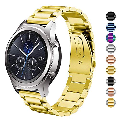 DELELE for Samsung Gear S3 / Galaxy Watch Band, 22mm Solid Stainless Steel Metal Business Replacement Bracelet Strap for Samsung Gear S3 Frontier/Classic/Galaxy Watch 46mm Women Men (Gold)