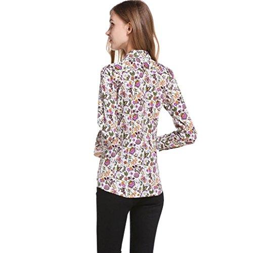 Taille 80s Tops Taille Floral Vintage V Chemise Femme en Imprim Encolure Ansenesna Tops Tunique Grande Femme Multicolore 5F6PSqqx