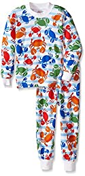 Sara\'s Prints Little Boys\' 2 Piece Relaxed Fit Pajama Set, Crabs Royale, 6