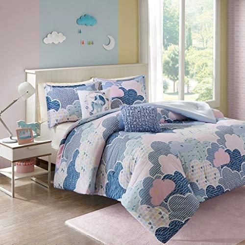 Urban Habitat Kids Cloud Full/Queen Comforter Sets for Girls - Blue, Geometric, Unicorn  5 Pieces Kids Girl Bedding Set  100% Cotton Childrens Bedroom Bed Comforters