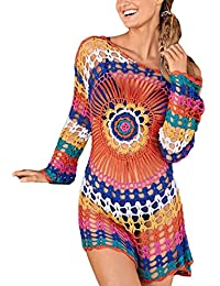 Women Embroidered Half/Long Sleeve Swimsuit Cover Up Mini Beach Dress
