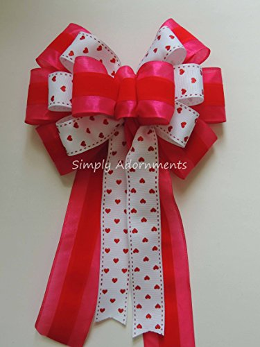 Pink Red White Valentine Wreath Bow Red Pink Valentine Wreath Door Bow Valentine Pink Red Heart Wedding Pew Bow Valentine Gift Bow Valentine Swag Bow