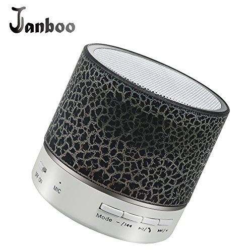 Janboo Mini Wireless Bluetooth Speaker with LED Colorful Light Enhanced Bass FM Audio with Built-in Mic Support USB/SD/TF, Aux-in for iPhone iPad PC Smart Phone