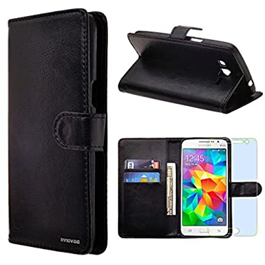 Samsung Galaxy J1 / J100 Case, INNOVAA Premium Leather Wallet Case with STAND Flip Cover (Not Compatible with Samsung Galaxy J1(2016)) W/ Free Screen Protector & Stylus Pen - Black