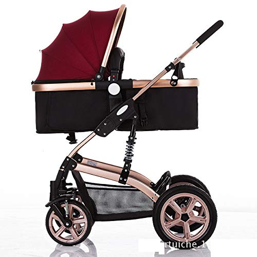 High Landscape Toddlers Baby pushchairs Bidirectional Newborn Strollers Suitable for Children 0-3 Years Old Fashion Four Seasons prams can fold (Color : Red)