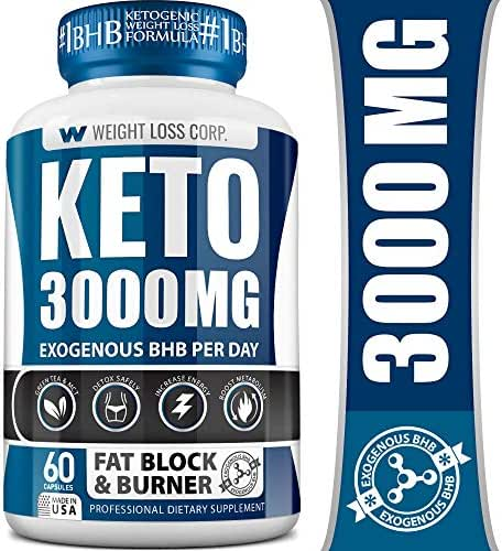 Weight Loss Corp - Keto Pills - Professional Dietary Supplement - Keto Diet Pills Made in USA - Ketosis Supplement to Burn Fat Fast - Appetite Suppressant - Best Ketogenic Fat Burner for Women & Men
