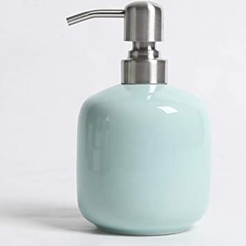 Bathroom Round Ceramic Refillable Liquid Soap Dispenser Pump Bottle For Vanity Countertop Kitchen Holds Hand Soap Sanitizer Lotion Essential Oils Mint Green Amazon De Baumarkt