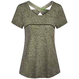 connche Kimmery Woman Short Sleeve Round Neck Criss Cross Back Athletic Yoga Shirt