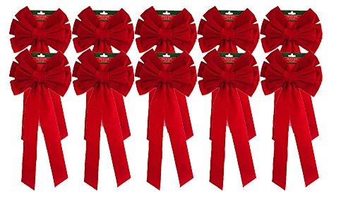 (Black Duck Brand Christmas Holiday Giant Red Velvet Bows 26